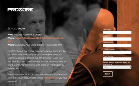 Screenshot of Landing Page procore.com - Procore Roadshow in Omaha - captured March 22, 2016