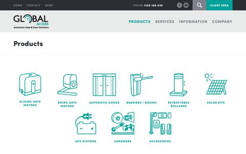 Screenshot of Products Page global-access.com.au - Products – Global Access - captured Nov. 20, 2017
