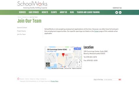 Screenshot of Jobs Page schoolworks.org - Join Our Team - SchoolWorks - captured July 18, 2018