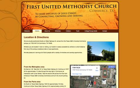 Screenshot of Maps & Directions Page fumccommerce.org - First United Methodist Church – Commerce, TX: Location & Directions - captured Oct. 13, 2017