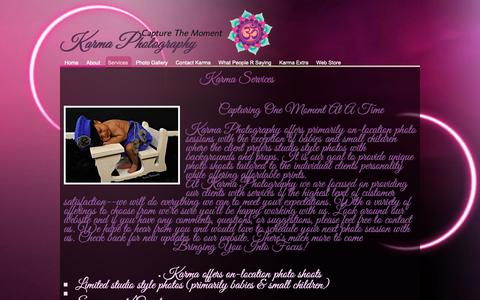 Screenshot of Services Page karmaphotography13.com - On Location Photographer - Karma Photography - captured Oct. 15, 2018