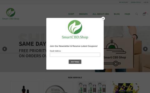 Screenshot of Home Page smartcbd.shop - Smart CBD Shop - Juul Pods | CBD Oil | CBD Gummies - captured Sept. 11, 2019