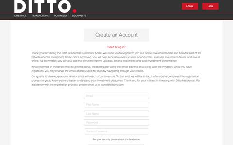 Screenshot of Login Page dittodc.com - Create an Account - Ditto Residential - captured Nov. 11, 2018