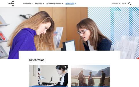Screenshot of Services Page unibz.it - Orientation / Free University of Bozen-Bolzano - captured Aug. 5, 2017