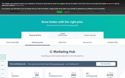 Screenshot of Pricing Page hubspot.com - Marketing Software Pricing | HubSpot - captured July 22, 2019