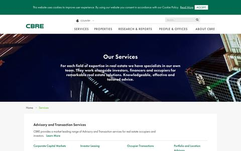Screenshot of Services Page cbre.co.uk - Services | CBRE - captured July 14, 2017