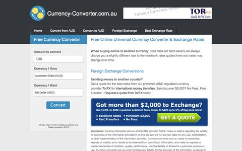 Screenshot of Home Page currency-converter.com.au - FREE CURRENCY CONVERTER from CURRENCY-CONVERTER.com.au - captured Sept. 19, 2014