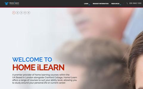 Screenshot of Home Page homeilearn.com - Home iLearn:Home Learning Courses - captured Sept. 23, 2014
