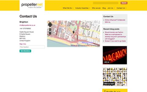 Screenshot of Contact Page propellernet.co.uk - Contact Us | Propellernet - captured Sept. 23, 2014
