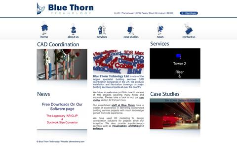 Screenshot of Home Page bluethorn.co.uk - Blue Thorn : 3D CAD Coordination On Major Building Services Projects - captured Oct. 5, 2014