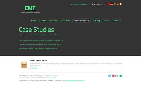 Screenshot of Case Studies Page cmtmaterials.com - Case Studies | CMT Materials - captured Oct. 1, 2014