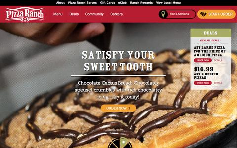 Screenshot of Home Page pizzaranch.com - Pizza Ranch: Home of Legendary Pizza, Chicken, Salad and | Pizza Ranch - captured July 19, 2018