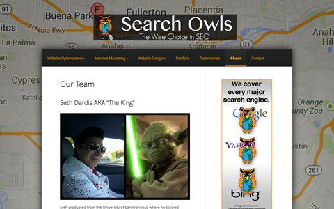Screenshot of About Page searchowls.com - About | Search Owls - captured Sept. 30, 2014