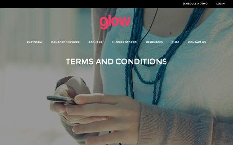 Screenshot of Terms Page thisisglow.com - Terms and Conditions • Glow - captured Jan. 31, 2016