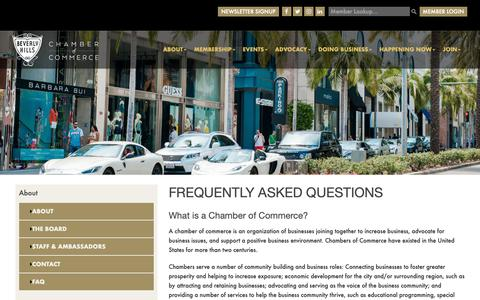 Screenshot of FAQ Page beverlyhillschamber.com - Frequently Asked Questions | Beverly Hills Chamber of Commerce - captured Oct. 5, 2018