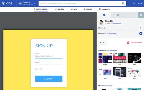 Screenshot of Signup Page materialup.com - Sign Up – MaterialUp - captured May 8, 2016