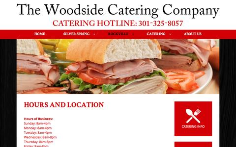 Screenshot of Hours Page thewoodsidedeli.com - Hours and Location - The Woodside Catering Company - captured June 22, 2016