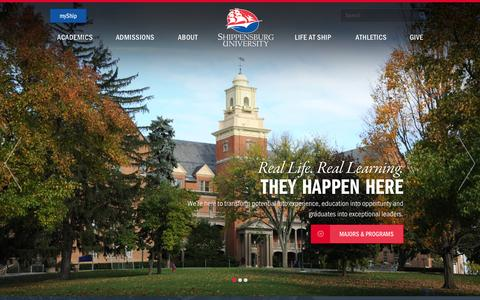 Screenshot of Home Page ship.edu - Shippensburg University - captured Nov. 1, 2015