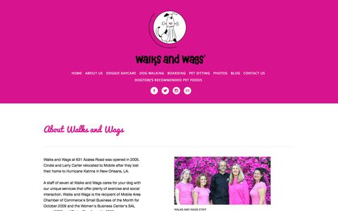 Screenshot of About Page walksandwags.com - About Us — Walks and Wags - captured Oct. 27, 2014