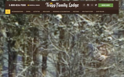 Screenshot of Home Page trappfamily.com - Trapp Family Lodge - Resorts in Stowe, VT - captured Jan. 26, 2016