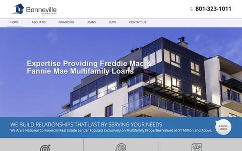 Screenshot of Home Page bmfcap.com - Utah Multifamily Lender |Bonneville Multifamily Capital - captured Feb. 7, 2016
