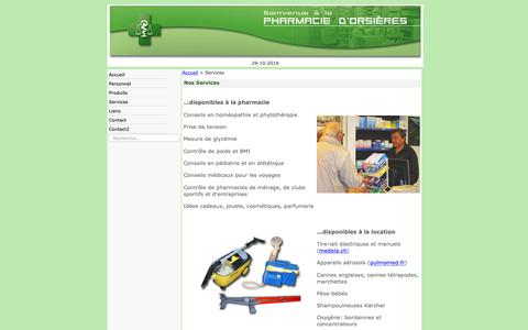 Screenshot of Services Page pharmacie-orsieres.ch - Services - captured Oct. 28, 2018