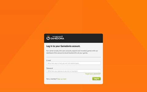 Screenshot of Login Page gamedonia.com - Login to Gamedonia | Dashboard - captured Oct. 20, 2015