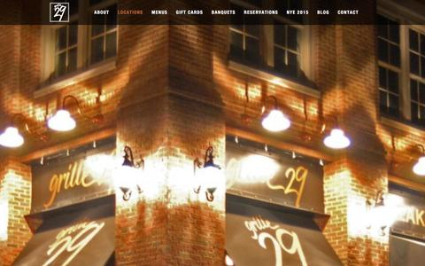 Screenshot of Locations Page grille29.com - Locations - Grille 29 Restaurant - captured Dec. 15, 2015