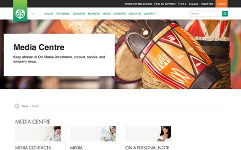Screenshot of Press Page oldmutual.co.za - Old Mutual Media Centre - captured Aug. 17, 2018