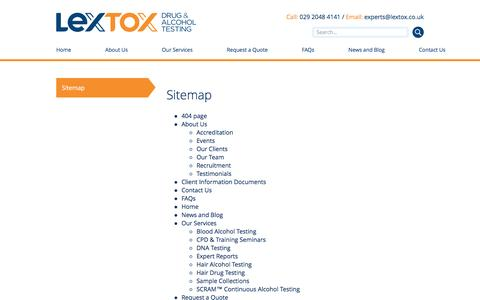 Screenshot of Site Map Page lextox.co.uk - Lextox Drug & Alcohol Testing Sitemap - captured May 17, 2017