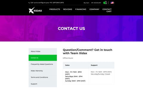 Screenshot of Contact Page xidax.com - Contact Us - captured Oct. 18, 2018