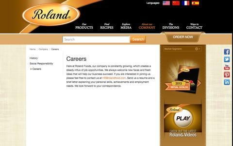Screenshot of Jobs Page rolandfood.com - Roland Foods, Global Experts in Specialty Foods® :: Careers - captured Sept. 25, 2014