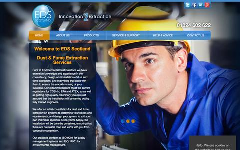 Screenshot of Home Page edsscotland.co.uk - Dust & Fume Extraction Services From EDS Scotland - captured Sept. 18, 2015