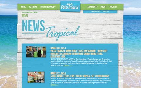 Screenshot of Press Page pollotropical.com - Pollo Tropical News - captured Sept. 25, 2014