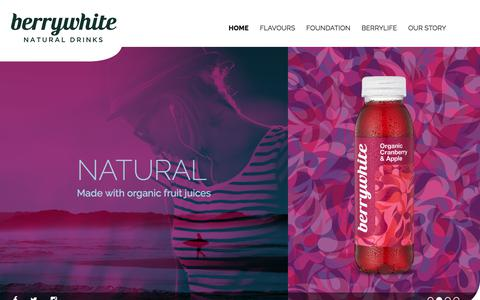 Screenshot of Home Page berrywhite.com - Berrywhite - Premium Organic Soft Fruit Drinks - captured Aug. 1, 2018