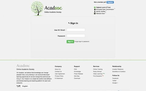 Screenshot of Login Page acadsoc.com - Sign In-Acadsoc - captured Sept. 25, 2014