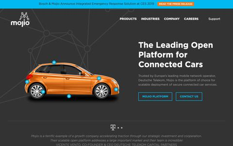 Screenshot of Home Page moj.io - Home Page - Mojio - Connected Car Platform - captured Jan. 12, 2019