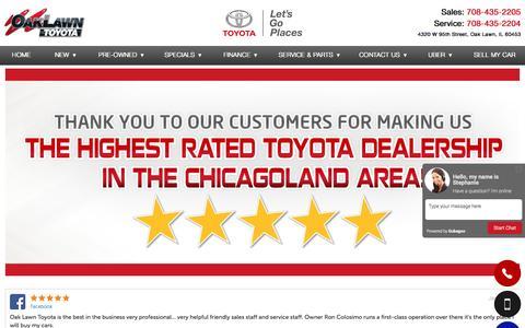 Screenshot of Testimonials Page oaklawntoyota.com - Customer Reviews, Testimonials - Oak Lawn Toyota - captured Jan. 14, 2017