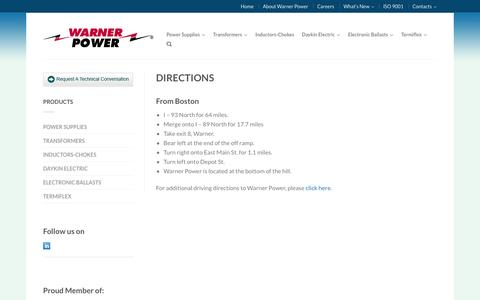 Screenshot of Maps & Directions Page warnerpower.com - Directions to Warner Power, Warner, New Hampshire - captured Sept. 30, 2014