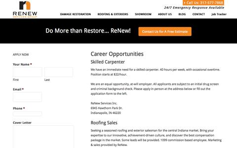 Screenshot of Jobs Page renewservices.com - Careers and Job Postings at ReNew Services Inc. - captured Oct. 7, 2014