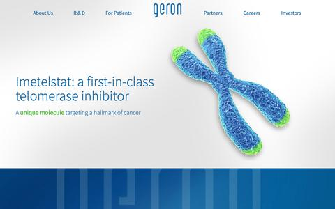 Screenshot of Home Page geron.com - Imetelstat | Myelofibrosis | Myelodysplastic Syndrome | Geron - captured Nov. 3, 2018