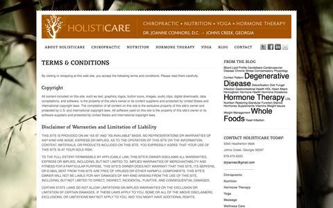 Screenshot of Terms Page holisticare.biz - Terms & Conditions - Holisticare - captured Oct. 27, 2014