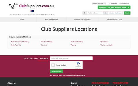 Screenshot of Locations Page clubsuppliers.com.au - Find Club Suppliers by Location - ClubSuppliers.com.au - captured Feb. 16, 2018