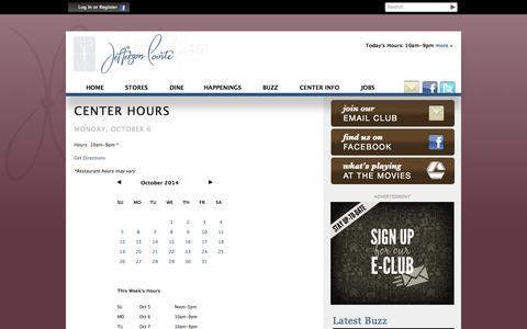 Screenshot of Hours Page jeffersonshopping.com - Hours :: Jefferson Pointe :: Mall in Fort Wayne, IN - captured Oct. 6, 2014