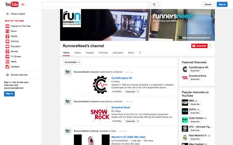 Screenshot of YouTube Page youtube.com - RunnersNeed's channel  - YouTube - captured Oct. 25, 2014