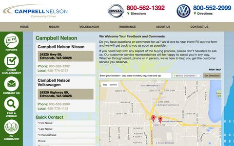 Screenshot of Contact Page Maps & Directions Page campbellnelson.com - Nissan and Volkswagen Dealership in Edmonds Washington - Map and Directions - captured Jan. 25, 2016