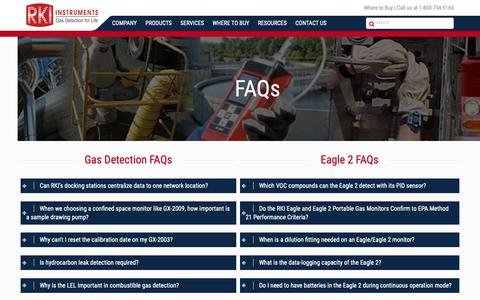 Screenshot of FAQ Page rkiinstruments.com - FAQs - Gas Detectors - Portable Gas Monitors - Gas Sensors by RKI - captured Oct. 1, 2018