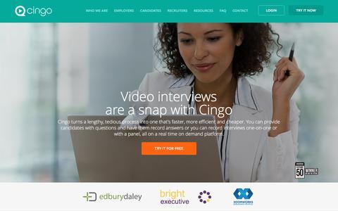 Screenshot of Home Page cingorecruit.com - Video interviewing online made easy / Cingo - captured March 8, 2016