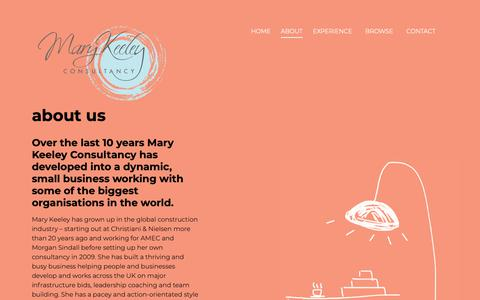 Screenshot of About Page marykeeley.com - About | Mary Keeley Consulting - captured Oct. 1, 2018