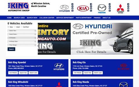 Screenshot of Home Page bobkingauto.com - Bob King Auto Group In Winston Salem North Carolina sells New and Used Hyundai, Kia, Mazda and Mitsubishi cars serving Greensboro NC, High Point, Charlotte and Burlington. - captured Sept. 13, 2015